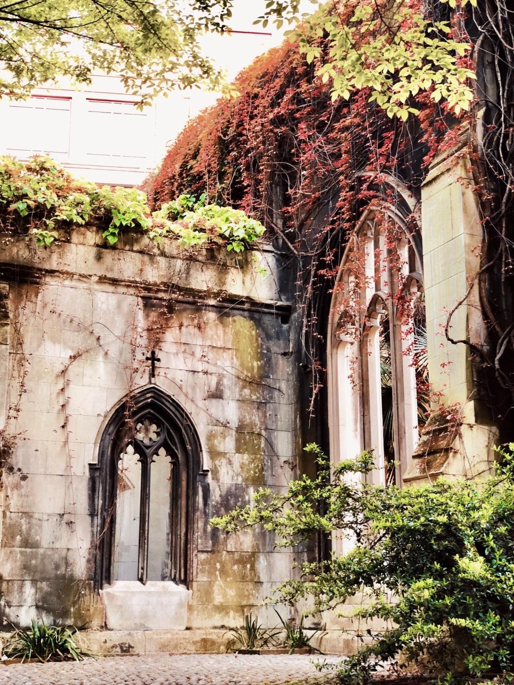 Chiesa diroccata ricoperta di edere